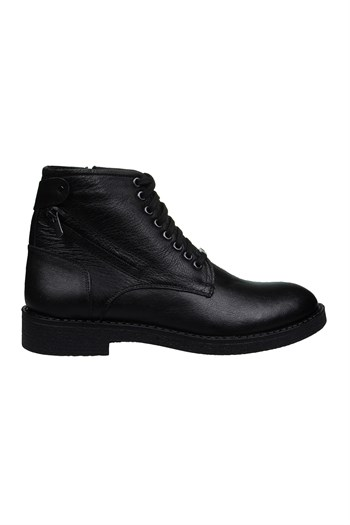 Mp Mens Leather Lace-Up Black Boots Shoes 202-4074MR 100