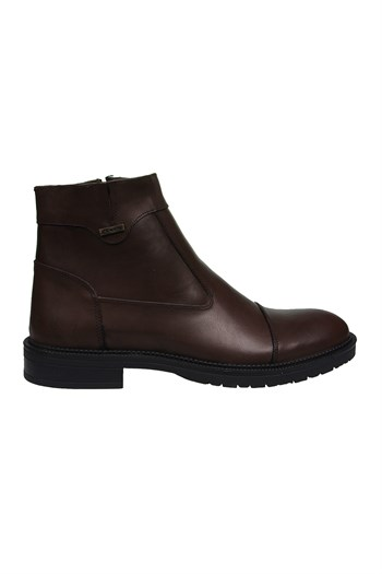 Mp Mens Leather Side Zipper Brown Boots Shoes 202-4086MR 600